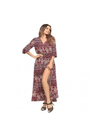 Ruiyige Bohemia Style Vacation Long Dress V Neck Three Quarter Sleeve Floral Print Dress - Myファッションスナップ - $47.30  ~ ¥5,324