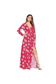 Ruiyige Long Sleeve High Waist Print One-Piece Dress Crew Neck - Myファッションスナップ - $54.67  ~ ¥6,153