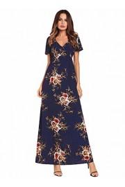 Ruiyige Women Deep V Neck Short Sleeve High Waist Floral Maxi Dress - Myファッションスナップ - $18.72  ~ ¥2,107