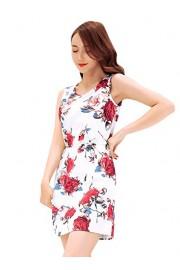 Ruiyige Womens Dresses Casual Floral Print Sleeveless Swing Skater A Line Mini Dress - Myファッションスナップ - $18.99  ~ ¥2,137