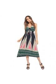 Ruiyige Women's V Neck Print Dress Bohemia Style Sleeveless Long Dress - Myファッションスナップ - $39.50  ~ ¥4,446