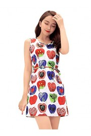 Ruiyige Womens Vintage Floral Print Sleeveless Round Neck Casual Midi Dress - Myファッションスナップ - $24.99  ~ ¥2,813