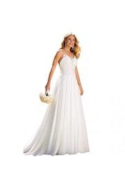 SIQINZHENG A Line Chiffon Beach Wedding Dresses 2019 White Bridal Gowns - Il mio sguardo - $9.99  ~ 8.58€