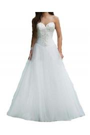 SIQINZHENG A Line Lace Appliques Wedding Dresses Long Bridal Gowns - Il mio sguardo - $119.99  ~ 103.06€