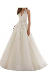 SIQINZHENG Halter Deep V Wedding Dress with Beads Long Bridal Gowns - Il mio sguardo - $149.99  ~ 128.82€