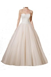 SIQINZHENG Sexy Ball Gown Tulle Strapless Wedding Dresses Lace Appliques Bridal Gowns - Il mio sguardo - $149.99  ~ 128.82€