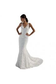 SIQINZHENG Women's Double V-Neck Bridal Gowns Lace Beach Wedding Dress - Il mio sguardo - $9.99  ~ 8.58€