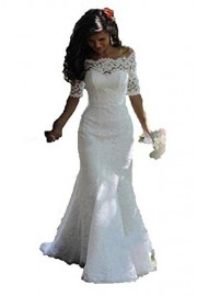 SIQINZHENG Women's Off The Shoulder Lace Wedding Dresses Half Sleeve Mermaid Bridal Gowns - Il mio sguardo - $105.99  ~ 91.03€