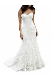 SIQINZHENG Women's Sweetheart Full Lace Beach Wedding Dress Mermaid Bridal Gown - Il mio sguardo - $99.99  ~ 85.88€
