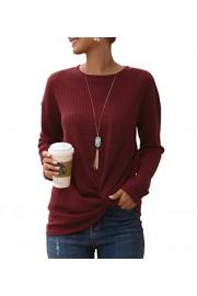 Sarin Mathews Women Tops Long Sleeve Casual Cute Twist Knot Waffle Knit Shirts Tops Blouses - Il mio sguardo - $9.99  ~ 8.58€