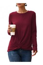 Sarin Mathews Womens Casual Tops Long Sleeve Tunic Blouses Twist Knot Waffle Knit Loose Shirts - My look - $9.99