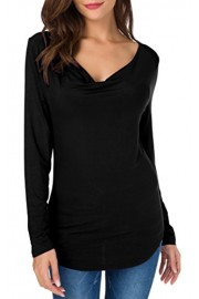 Sarin Mathews Women's Cowl V Neck Ruched Long Sleeve Shirts Sexy Blouses Stretch Tank Tops - My look - $9.99