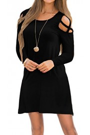 Sarin Mathews Womens Dresses Cold Shoulder Tunic Top Casual Swing T Shirt Loose Dress with Pockets - Il mio sguardo - $18.99  ~ 16.31€