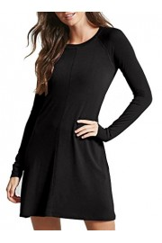 Sarin Mathews Womens Dresses Long Sleeve Round Neck Casual Midi Flared Dress - My look - $18.00