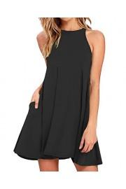 Sarin Mathews Women's Halter Neck Sleeveless Casual Swing T-Shirt Loose Dress - Il mio sguardo - $15.88  ~ 13.64€