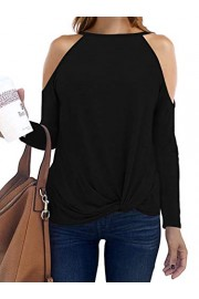 Sarin Mathews Womens Halter Neck Tops Cut Out Shoulder Shirts Casual Tunic Long Sleeve Twist Knot Blouses - My look - $9.99