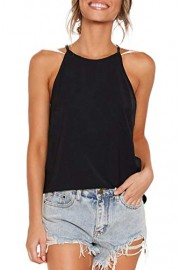 Sarin Mathews Womens Halter Tops Casual Basic Tee Shirts Summer Sleeveless Tops - Il mio sguardo - $9.99  ~ 8.58€