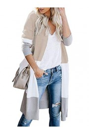 Sarin Mathews Womens Open Front Long Cardigan Color Block Long Sleeve Loose Knit Lightweight Sweaters - Il mio sguardo - $13.99  ~ 12.02€