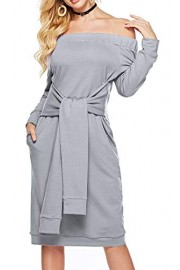 Sarin Mathews Womens Sexy Off The Shoulder Party Dress with Belt Casual Long Sleeve Loose Dresses with Pockets - My look - $19.99