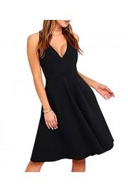 Sarin Mathews Womens Sexy V Neck Sleeveless A-line Elegant Cocktail Party Skater Midi Dress - My look - $16.99