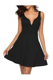 Sarin Mathews Womens Sexy V Neck Sleeveless Strappy Backless A-line Elegant Cocktail Party Skater Dress - My look - $21.99