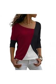 Sarin Mathews Womens Shirts Casual Tee Shirts Long Sleeve Patchwork Color Block Loose Fits Tunic Tops Blouses - My look - $9.99