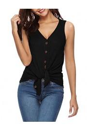 Sarin Mathews Womens Shirts Sleeveless V Neck Button Down Waffle Knit Loose Casual Basic Tee Shirts Tunic Tops Blouses - My look - $16.99