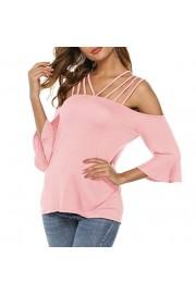 Sarin Mathews Womens Shirts Spaghetti Straps Cold Shoulder Tops Casual Tee Shirts Half Sleeve Tunic Tops Blouses - My look - $9.99