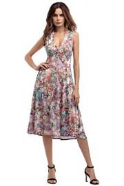 Sarin Mathews Women's Summer Floral Print V Neck Empire Waist Party Midi Dress - Il mio sguardo - $21.99  ~ 18.89€
