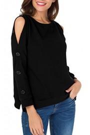 Sarin Mathews Womens Sweatshirts Pullover Cold Shoulder Long Sleeve Loose T Shirt Blouses Tops - My look - $17.99