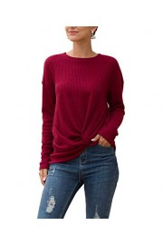 Sarin Mathews Womens Tank Tops Summer Sleeveless High Neck Casual Twist Knot Waffle Knit TopsTee Shirts Tunic Blouses - My look - $9.99