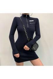 Semi-high collar zipper sexy slim Thread - My look - $25.99