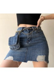 Send pockets irregular 2020 new washed and worn A word was thin elastic denim sk - Moj look - $35.99  ~ 228,63kn