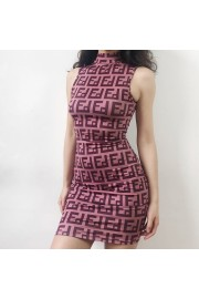 Sexy letter print high collar sleeveless - My look - $25.99