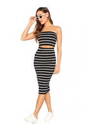 SheIn Women's 2 Pieces Striped Crop Bandeau Top and Split Skirt Cotton Set - My look - $15.99