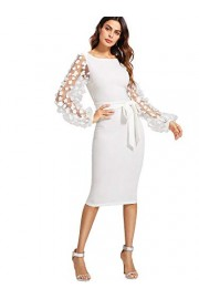 SheIn Women's Elegant Mesh Contrast Bishop Sleeve Bodycon Pencil Dress - My look - $21.99