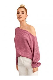 SheIn Women's Off Shoulder Jumper Batwing Pullover Solid Long Sleeve Drop Shoulder Casual Sweater - My look - $21.99