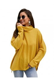 SheIn Women's Pullover Drop Shoulder Cowl Neck Slit Hem Long Sleeve Top Sweater - My look - $22.99