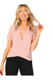 SheIn Women's Sexy V Neck Drape Wrap Short Sleeve Chiffon Blouse Shirt Top - My look - $7.99