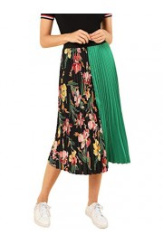 SheIn Women's Summer Color Block Floral Midi A-Line Pleated Skirt - My look - $17.99