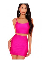 SheIn Women's Two Piece Outfit Sexy Stretchy Crop Cami Top Bodycon Skirt Set - My look - $17.99