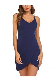 Sherosa Women Sexy Spaghetti Straps Sleeveless Bodycon Stretch Bandage Party Dress (XL, Navy Blue) - My look - $17.99