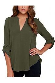 Sherosa Women's Casual Cuffed Sleeve High Low Hem Chiffon Blouse Shirts Tops - My look - $44.99