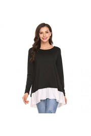 Sherosa Women's Casual Long Sleeve Shirts Round Neck Loose Patchwork Blouse Tops - My look - $17.99