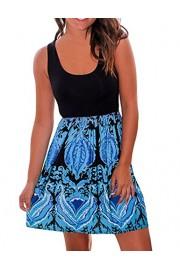 Sherosa Women's Casual Loose Floral Mini Print Sleeveless Sundress A-Line Beach Dress (XL, Dark Blue) - My look - $16.99