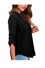 Sherosa Women's Casual V-neck 3/4 Roll-Up Sleeve Chiffon Solid T-shirt Tops Blouse - My look - $15.99