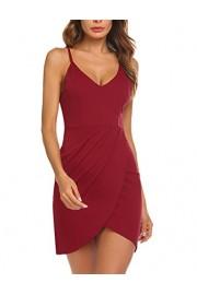 Sherosa Women's Elegant Spaghetti Straps Deep V Neck Sleeveless Bodycon Party Dress (S, Wine Red) - My look - $17.99