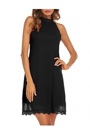 Sherosa Women's Halter Neck Sleeveless Lace Trim Loose Shift Mini Casual Dress(Black,XL) - My look - $19.99