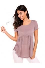 Sherosa Women's High Low Hem Draped Short Sleeve Babydoll Tunic Shirts - My look - $42.99