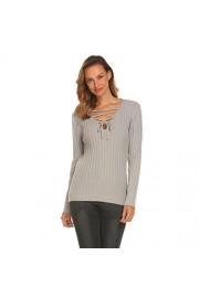 Sherosa Women's Lace up Crisscross V Neck long Sleeve Sweater - My look - $18.99